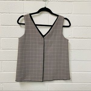Zara Basic. Hounds tooth Vest Style Top. Size XS